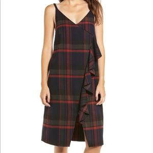 BP. Plaid Ruffle Surplice Plaid Slip Style Dress